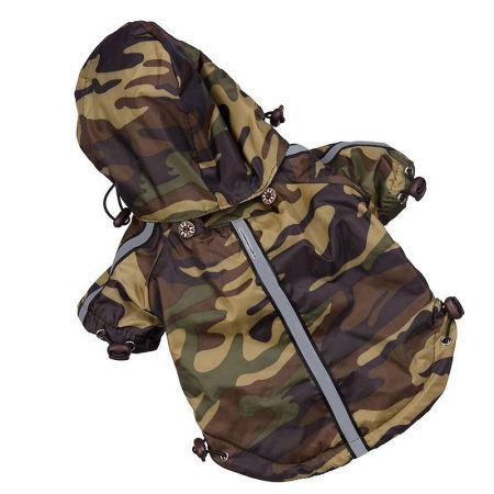 Pet Life Reflecta Rainbreaker Adjustable Camouflage Dog Jacket with Hood