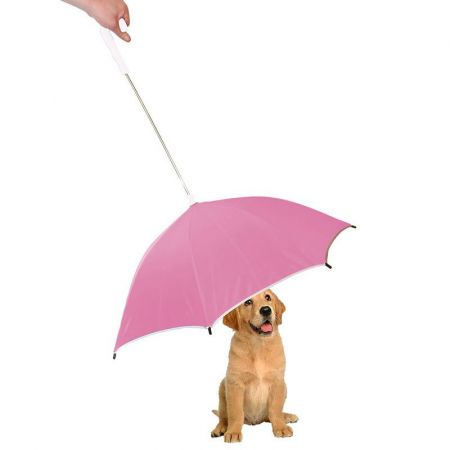 Pet Life Drip-Proof Pet Umbrella - Pink w/ White Handle alternate view 1