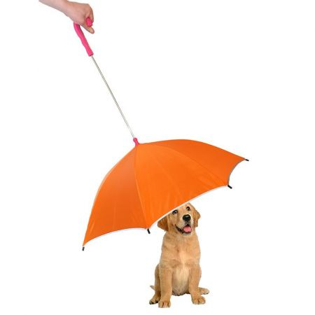 Pet Life Pet Life Drip-Proof Pet Umbrella - Orange w/ Pink Handle
