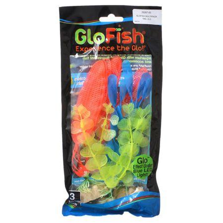 GloFish Aquarium Plant Multipack - Yellow, Orange & Blue