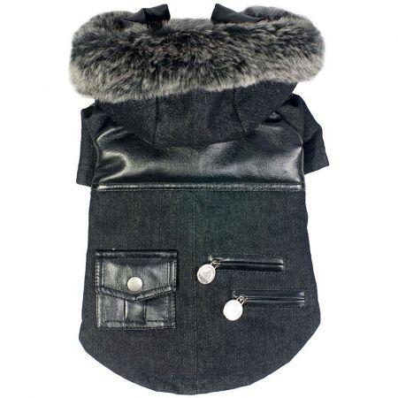 Pet Life Black Denim Choppered Dog Coat alternate view 1