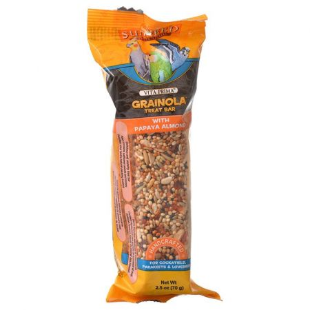 Vitakraft Sunseed Vita Prima Grainola Treat Bar - Papaya Almond