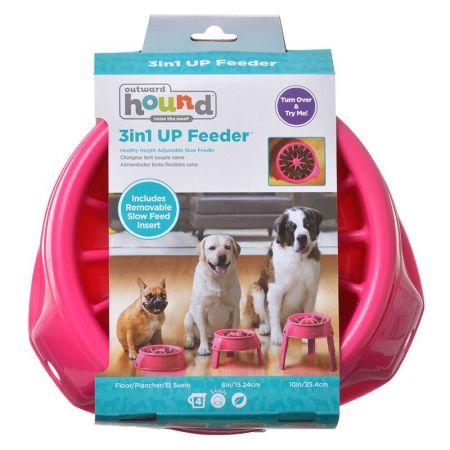 Outward Hound Outward Hound 3in1 Up Feeder - Pink