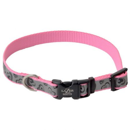 Lazer Brite Pink Hearts Reflective Adjustable Dog Collar alternate view 2