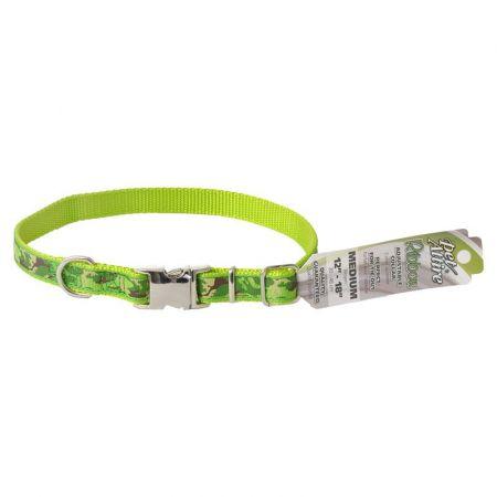 Coastal Pet Pet Attire Ribbon Lime Camouflage Adjustable Nylon Dog Collar with Metal Buckle
