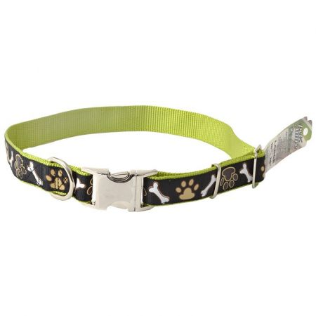 Coastal Pet Pet Attire Ribbon Brown Paws & Bones Adjustable Nylon Dog Collar with Metal Buckle