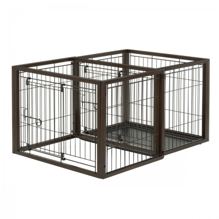 Richell Richell Flip to Play Pet Crate - Dark Brown
