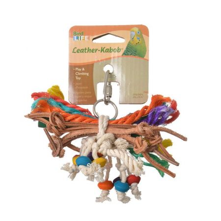 Penn Plax Penn Plax Bird Life Leather-Kabob Parakeet Toy