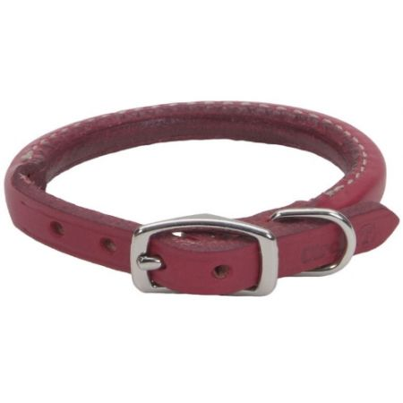 Circle T Leather Circle T Oak Tanned Leather Round Dog Collar - Red