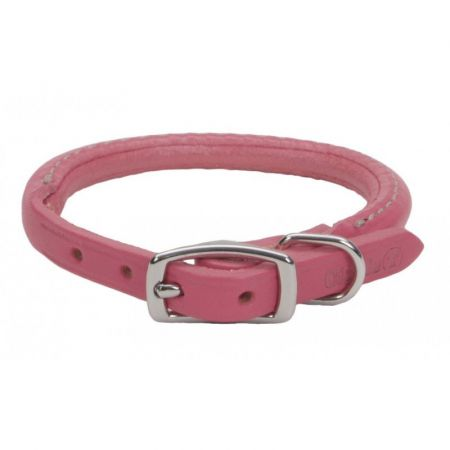 Circle T Oak Tanned Leather Round Dog Collar - Pink