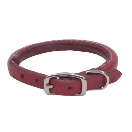 Circle T Oak Tanned Leather Round Dog Collar - Red alternate view 2