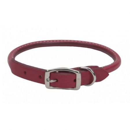 Circle T Oak Tanned Leather Round Dog Collar - Red alternate view 3