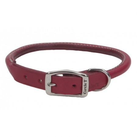 Circle T Oak Tanned Leather Round Dog Collar - Red alternate view 4