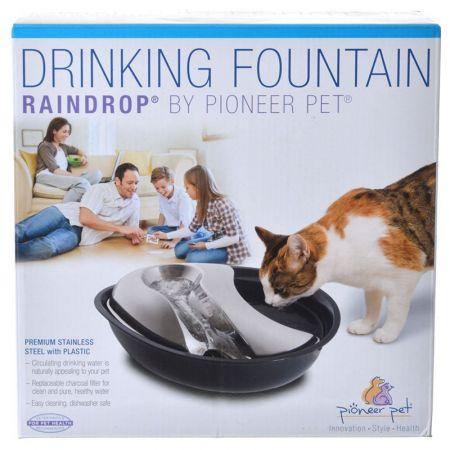 Pioneer Pet Pioneer Raindrop Plastic Drinking Fountain with Stainless Steel Top - Black
