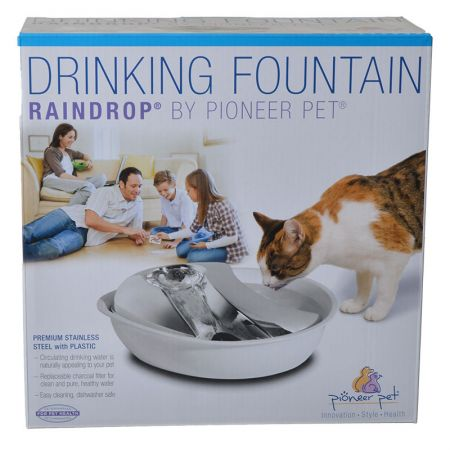 Pioneer Pet Pioneer Raindrop Plastic Drinking Fountain with Stainless Steel Top - White