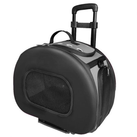 Pet Life Pet Life Wheeled Tough-Shell Black Collapsible Pet Carrier