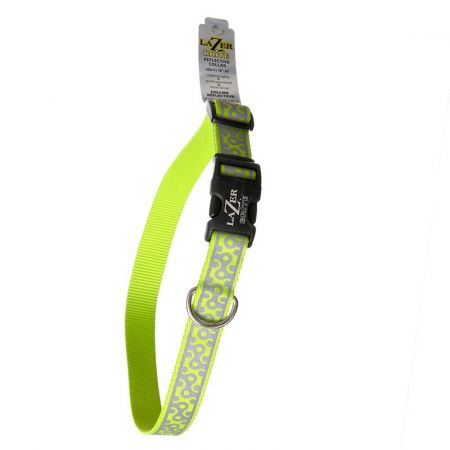 Coastal Pet Lazer Brite Reflective Open-Design Adjustable Dog Collar - Lime Geometric