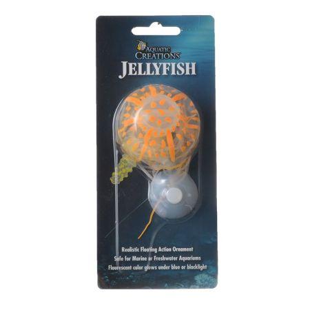 Aquatic Creations Glowing Jellyfish Aquarium Ornament - Orange
