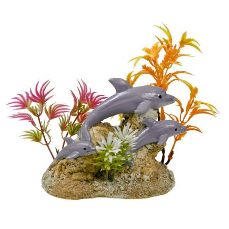 Blue Ribbon Pet Products Exotic Environments Aquatic Scene with Dolphins Aquarium Ornament