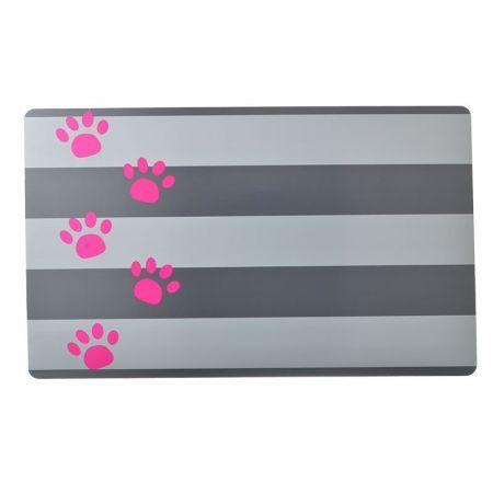 Petmate Petmate Plastic Food Mat - Gray Stripe & Pink Paw