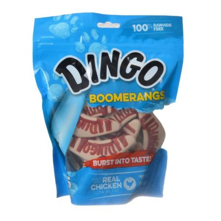 Dingo Dingo Boomerangs Rawhide Free Dog Treats with Real Chicken