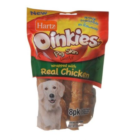 Hartz Hartz Oinkies Pig Skin Twists Wrapped with Real Chicken
