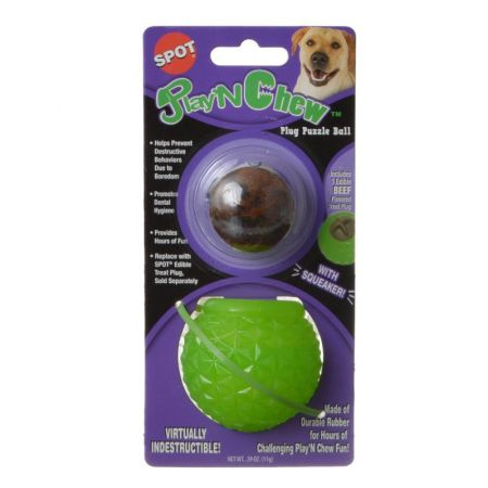 Spot Spot Play N Chew Treat Plug Puzzle Ball Toys Rubber
