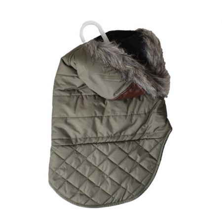 Fashion Pet Outdoor Dog Leather Detail Dog Coat - Olive Green alternate view 1