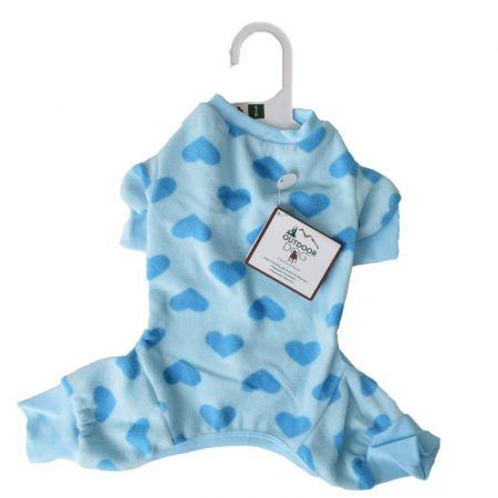 Lookin Good Heart Fleece Dog Pajamas - Blue