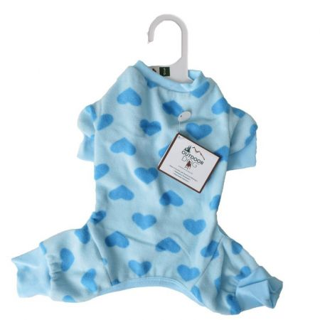 Fashion Pet Lookin Good Heart Fleece Dog Pajamas - Blue