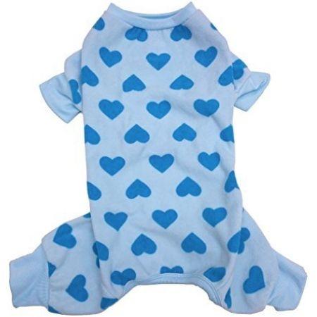 Lookin Good Heart Fleece Dog Pajamas - Blue alternate view 3