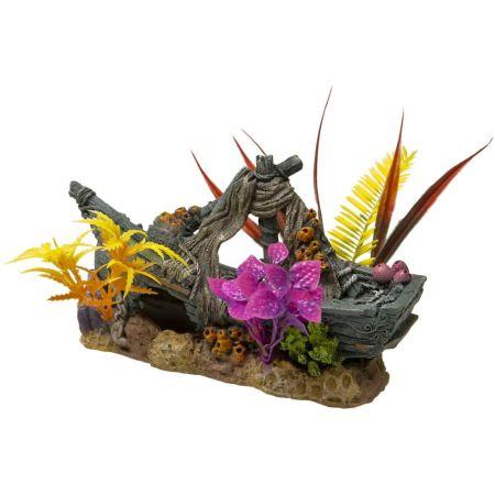 Blue Ribbon Pet Products Exotic Environments Sunken Ship Floral Ornament