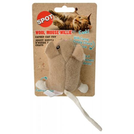 Spot Spot Wool Mouse Willie Catnip Toy - Assorted Colors