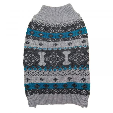 Fashion Pet Nordic Knit Dog Sweater - Gray alternate view 1