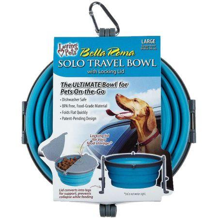 Loving Pets Bella Roma Blue Travel Bowl  alternate view 3