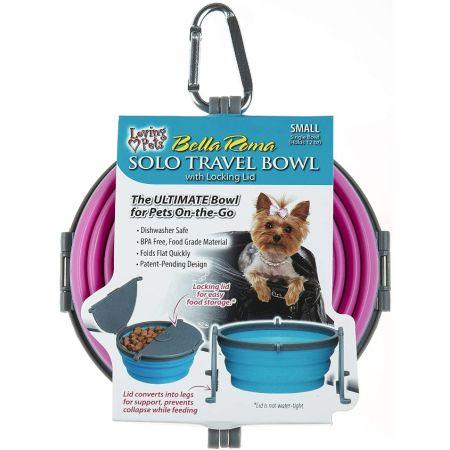 Loving Pets Bella Roma Pink Travel Bowl
